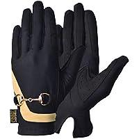 AK - Guantes de equitación para mujer ecuestre con cadena para correr (negro/dorado, 2 unidades)