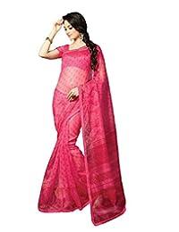 IndiWeaves Women Super Net Printed Pink Saree - B00VPXCJ3W