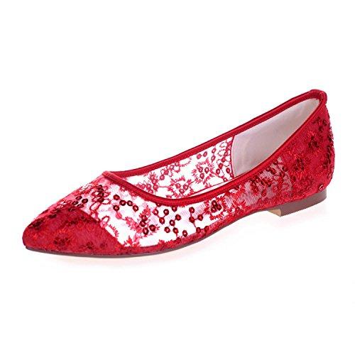 L@YC 2046-18 Scarpe Corte Con Fiocco In Pizzo Da Donna Con Punta Piatta E Punta Chiusa Red
