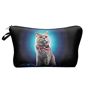 Cat Business Tie Multi-colored Women Cosmetic Cases 3D Print Fashion pattern