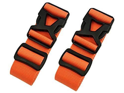 Riemot Koffergurt Kofferband Gepäckgurt Kreuz Koffer Gurte Riemen Verstellbar & Rutschfest 2 Stück Orange