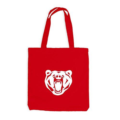 Jutebeutel - The Bear - Natur Bär Design Rot