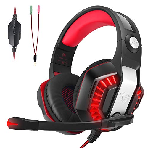 CHEREEKI Cuffie da Gaming,Cuffie da Gioco con Microfono e Illuminazione a LED per PS4 , Xbox One, PC, Nintendo Switch, Laptop, Tablet