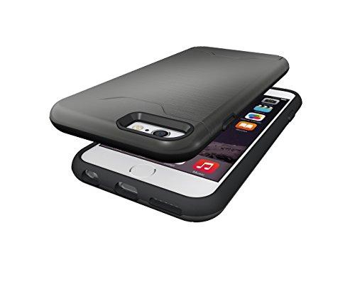 Schutzhülle für Apple iPhone 6 4.7 Zoll aufstellbares Hardcase mit Kartenfach Schutzcover (Schwarz) Grau