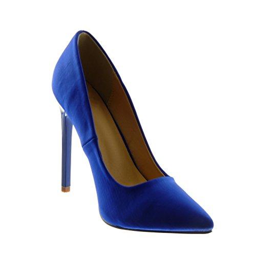 Angkorly Scarpe Moda Scarpe Decollete Stiletto Decollete Donna Tacco Stiletto Alto 12 cm Blu
