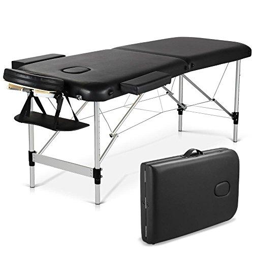 Yahee Mobile Massageliege inkl. Tasche, Kopf- und Armstützen klappbar 185 x 60 x (68-90) cm & 2 Zonen