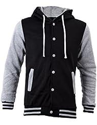 SODIAL(R) Sweats a Capuche Vogue Nouveau Baseball Jacket Cardigan Hommes Casuel Gris L