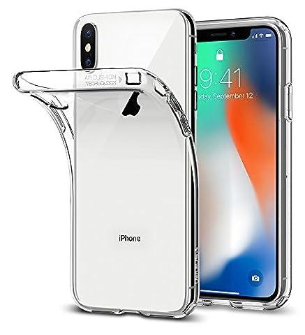 Coque iPhone X, Spigen® [Liquid Crystal] Ultra Fine TPU Silicone [Crystal Clear] Transparent / Adhérence Parfaite / Anti-trace Souple Coque pour Apple iPhone X (2017) - (057CS22118)