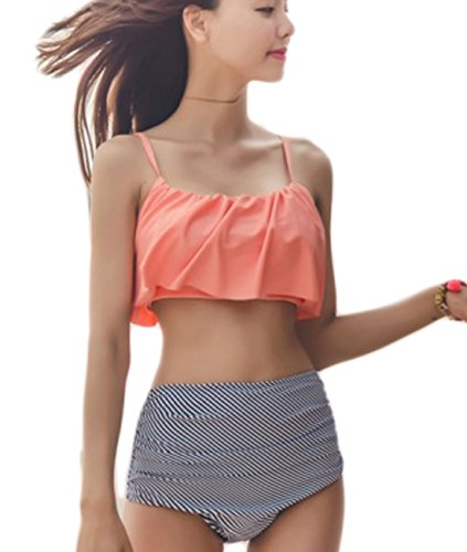 Damen Bademode Schleuder Set Badeanzug Bikini Set High Waist Orange