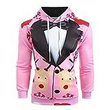 TIFIY Herren Weihnachten Anzug Pullover,3D Print Sweatshirt übsches Feiertagskostüm Lustiges Jumper Bluse Langarm Hoodie Freizeit Xmas Hemd (Rosa,EU 44/CN M