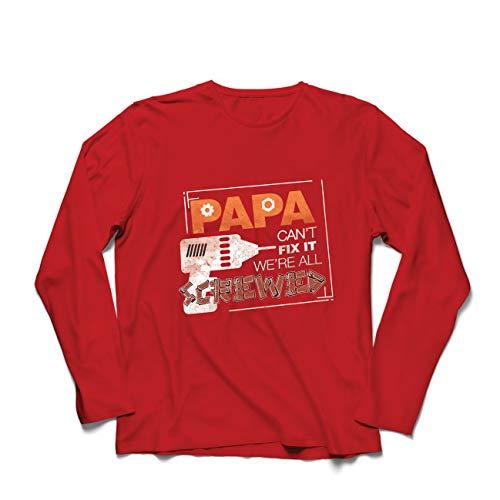lepni.me Herren T Shirts Wenn Papa es Nicht in Ordnung bringen kann, sind wir alle am Arsch, Vatertagsoutfit (Medium Rot Mehrfarben) (Kreative Halloween Verpassen)