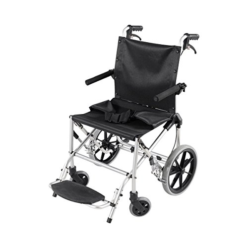 Comfort Med Rollstuhl 65251, Aluminium, zusammenklappbar, Medizinprodukt gemäß 93/42/EWG, Reiserollstuhl Pedes Plus