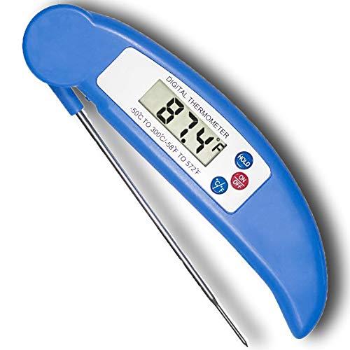COOLEAD Termómetro de Cocina Plegable Sonda Larga Barbacoa Carne Thermometer Impermeable Lectura Instantánea...