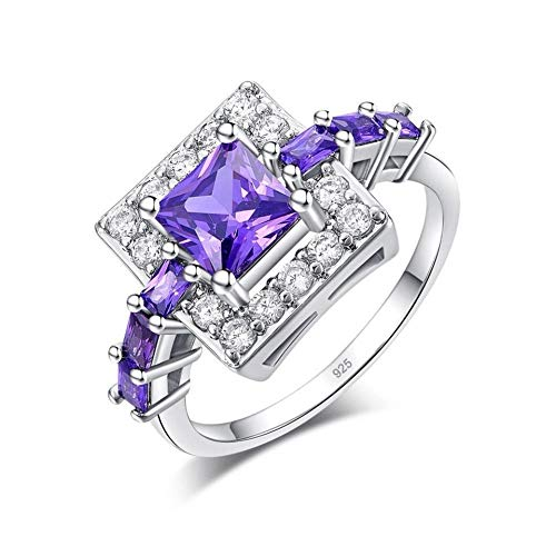 CCWANRZ Engagement/Ehering versilbert Princess Cut lila Zirkon quadratische Form für Frauen Schmuck Engagement Geschenk Ringgröße 6-10, 6