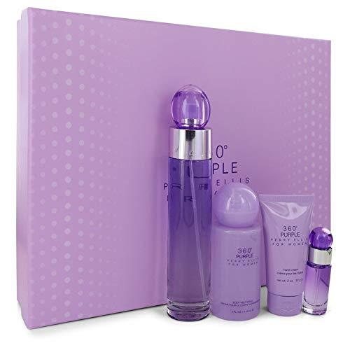 Perry Ellis 360 Purple by Perry Ellis Gift Set - 3.4 oz Eau De Parfum Spray + .25 oz Mini EDP Spray + 2 oz Hand Cream + 4 oz Body Spray / - (Women) -
