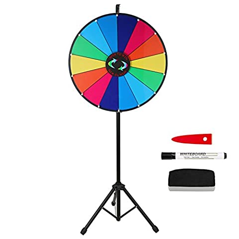Voilamart 24 Inch 14 Slots Color Dry Erase Prize Wheel with Tripod Floor Stand Spinning Game Party Pub