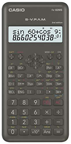 Casio FX-82MS-2 wissenschaftlicher Taschenrechner/Schulrechner zweizeilig mit 240 Funktionen, Batteriebetrieb