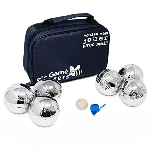 Big Game Hunters Juego de 6 Bolas de Petanca en una Bolsa de Lona, Bolas de Metal con 2 diseños Grabados