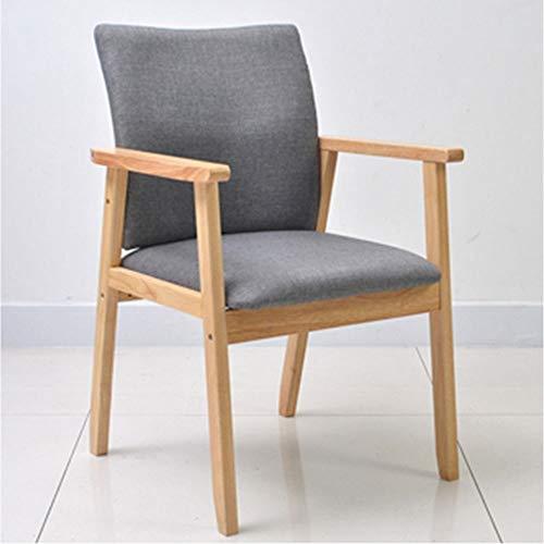 Baumwoll-wohnzimmer-stuhl (Stuhl Aus Massivem Holz Aus Baumwolle Und Leinen Home Wohnzimmer Schlafzimmer Esszimmerstuhl Hoher Rückprallschwamm Mit Armlehnen Gepolstert (Farbe : Grau, Size : Light Color))