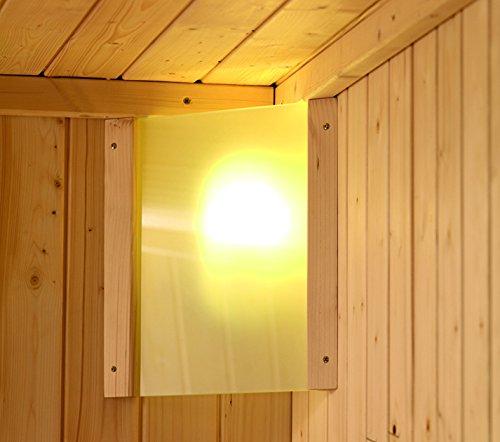 Karibu Saunaleuchte Premium Abmessungen: 26,9 x 30,4 x 2 cm Ausführung: für Starkstrom Material: ES Glas sandgestrahlt Farbe: naturbelassen Steuerung: über Sauna Steuerung oder ext. Schalter Silikonkabel: nicht im Lieferumfang enthalten (Zubehör) Leutmitt