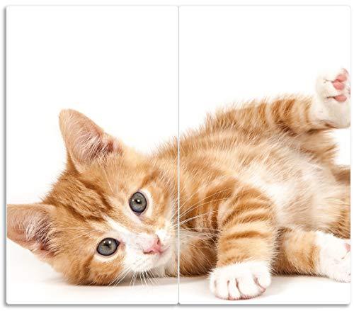 Wallario Herdabdeckplatte/Spritzschutz aus Glas, 2-teilig, 60x52cm, für Ceran- und Induktionsherde, Süße Katze mit großen Augen - rot weiß getigert