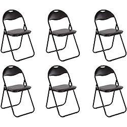 Chaise de cuisine Ensemble de 6 Chaise pliante Chaise pliante Chaise invité Chaise de jardin Métal en noir assise et dossier rembourrés