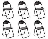 Küchenstuhl 6er Set Klappstuhl Faltstuhl Gästestuhl Gartenstuhl Metall in schwarz gepolsterte Sitzfläche und Rückenlehne in schwarz