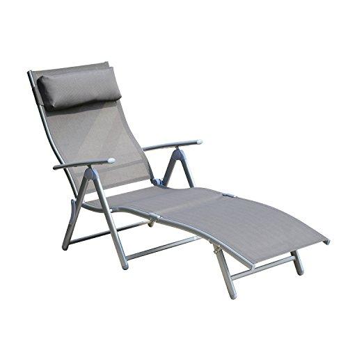 Outsunny® Sonnenliege Gartenliege stabil Strandliege klappbar mit Kissen 2 Farben (Grau)