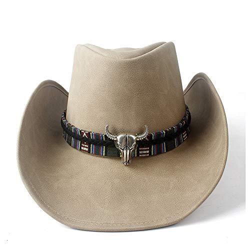Neue Leder Cowboyhut Frauen Männer breiter Krempe Cowgirl Western Hut Kuh Kopf Jazz Fedora Hut Lederband Hut (Farbe : Tan, Größe : 58-59)
