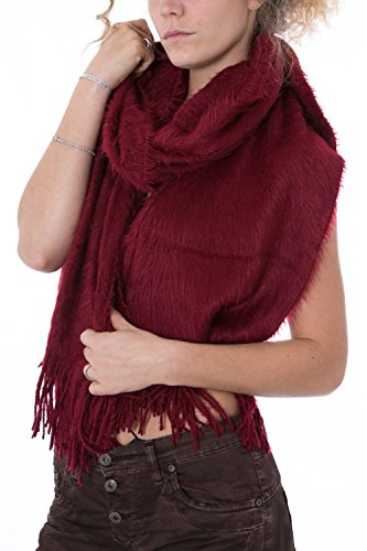 ONLY - Sciarpa donna con frange selak hairy knit scarf bordeaux