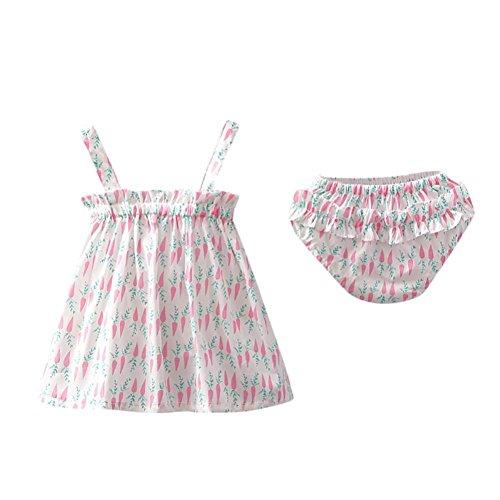 Mounter Robe D'été de Fille, Enfants D'été Carotte Print Sling Jupe + Kitty Pantalons Ensemble 6-24Mois (Rose, 12 Mois)
