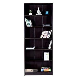 DeckUp Engineered Wood Muvo Dark Wenge, Matte Finish Large Bookshelf (FC895019_Dark_Wenge, Brown)