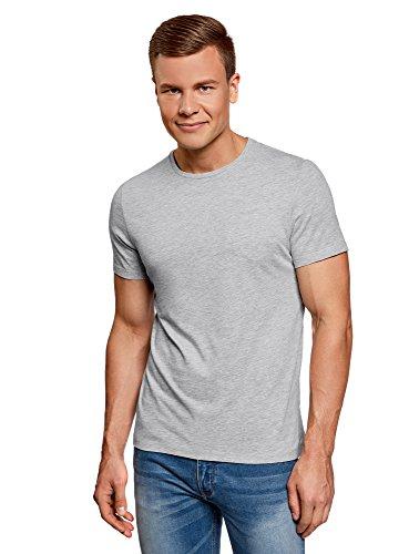 2300 T-shirt Short (oodji Ultra Herren T-Shirt Basic (3er-Pack), Grau, S)