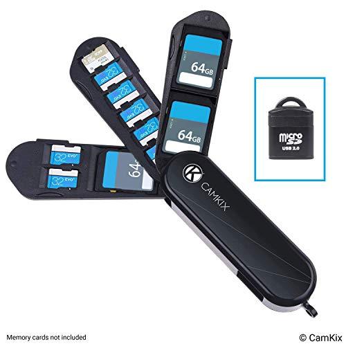 Estuche de Almacenamiento de Tarjeta de Memoria con Lector Micro SD (USB) - Diseño Tipo Navaja Suiza - Se Adapta a 2X SD (SDHC/SDXC / TF) y 8X Micro SD (SDHC/SDXC / TF) Tarjetas