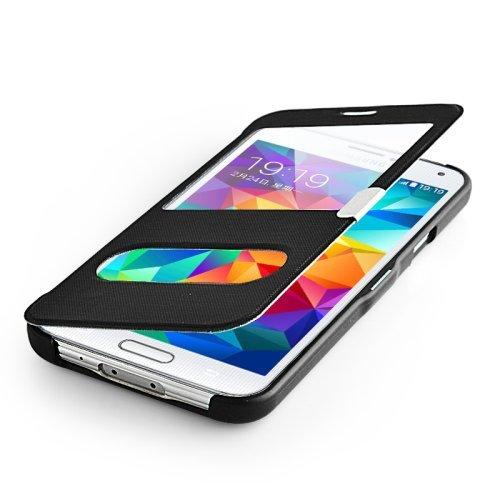 flipcover s5 betterfon Flipcover Samsung Galaxy S5 Schwarz Schutzhülle Case Cover Handytasche Flip Cover Hülle Tasche + gratis Displayschutzfolie