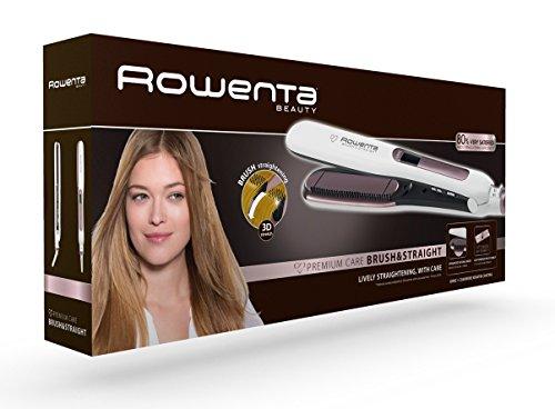 Rowenta Premium Care Brush & Straight SF7510F0 - Plancha de pelo con cepillo integrado para alisado natural con volumen, función iónica, recubrimiento de cashmere Keratin con aceite de argán
