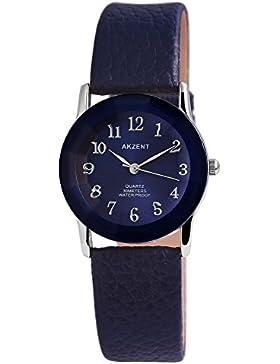 Akzent Damen analog Armbanduhr mit Quarzwerk SS7323000034 Metallgehäuse mit Kunstleder Armband in Blau und Dornschließe...