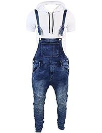 Salopette homme coupe cintrée entrejambe basse jeans bleu délavés rétro décontracté