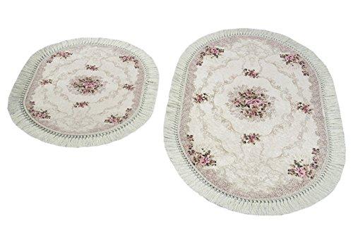 Merinos Badematte WC Teppich Set 2 teilig mit Blumen in Beige Größe 60x100 cm + 50x60 cm Oval