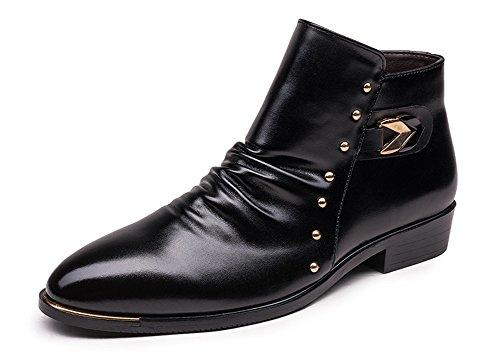 Weiße Leder Western Cowboy Stiefel (Anlarach Männer Biker Cowboy Western Knöchel Leder Stiefel Schuhe Schwarz 41 EU)