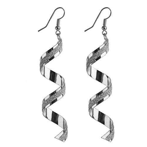 1 Paar Mode Frauen Dame Verdreht Draht Bereift Baumeln Ohrringe Silber
