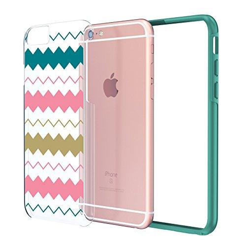 """iPhone 6 6s Case 4.7"""", Hülle True Color® Breite Chevron Waves Gedruckt auf freier transparenter Hybrid -Abdeckung Hard + Soft Slim dünnen haltbaren Schutzschutz aus Gummi TPU Stoßabdeckung - Teal Bunt"""