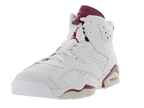 Nike Air Jordan 6 Retro, Chaussures de Sport Homme, Blanc, For Men Blanc / rouge (blanc cassé / marron nouveau)
