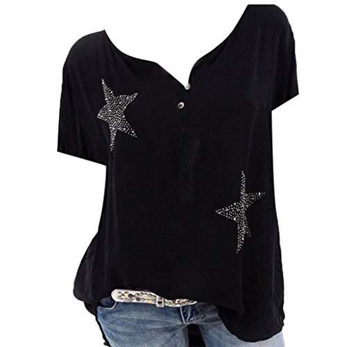 Bluse Damen Herbst Shirt Knopf Fünfzackigen Stern Hot Drill Tops Oberteil Langarm 3/4 Ärmel O-Ausschnitt Sweatshirt Langarmshirt Lose Hemd Tunika