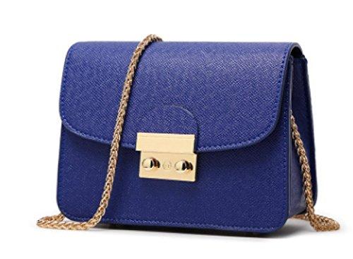 Mini Frauen Schultertasche PU Leder Nachricht Kleine Handtaschen Mit Ketten Schultergurt Handytasche Kreuz Körper Tasche (8 Farben) Blue