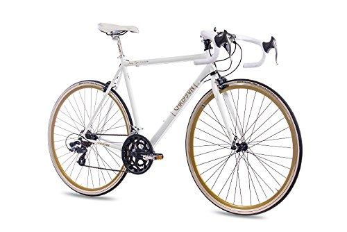 "CHRISSON 28\"" RENNRAD URBANRAD Fahrrad Vintage Road 1.0 mit 14G Shimano Retro Look Weiss matt, Rahmengröße:59 cm"