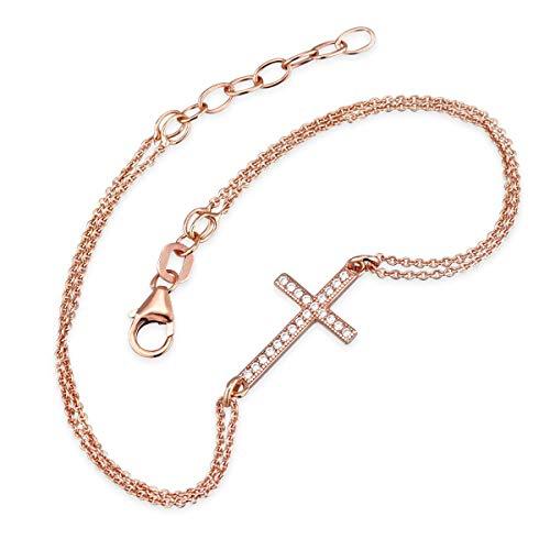 Materia Damen Armkette Kreuz rosegold Damen 925 Silber Armband gold vergoldet mit Zirkonia 17-19cm SA-54