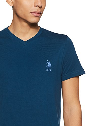 US Polo Association Men's Solid Regular Fit T-Shirt (I638-195-PL_Navy_Large)