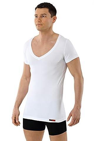 ALBERT KREUZ Funktionsunterhemd Winter-Sommer Klima Unterhemd Coolmax Anti-Schweiß atmungsaktiv trockene Haut Deep-V kurzarm weiß 07/XL
