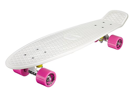 Ridge Skateboards 27' Mini Cruiser Skateboard completo, Glow in the Dark, Incandescente, Rosa